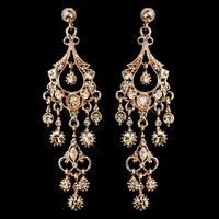 Rose Gold Chandelier Wedding and Prom Earrings - sale!