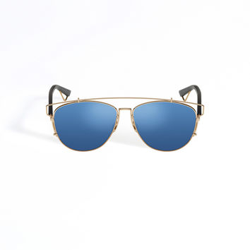 Dior - Technologic Gold-Tone And Blue Sunglasses