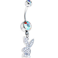 Playboy Crystal CUBIC ZIRCONIA Jeweled Rabbit Head CHARM Belly Ring | Body Candy Body Jewelry