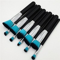 Beau Belle Kabuki Brush Set - 10pcs Makeup Brushes - Professional Makeup Brushes - Makeup Brush Set - Kabuki Makeup Brush Set - Make Up Brushes (All Black - Blue Brushes)