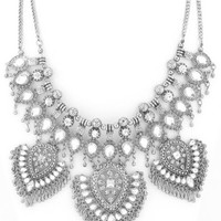 Stevie Boho Glam Statement Necklace in Silver