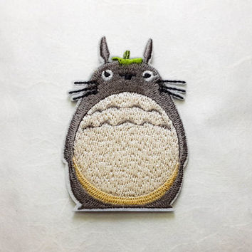 Totoro Iron on Patch - Totoro Cartoon Applique Embroidered Iron on Patch - Size 5.0x7.5 cm