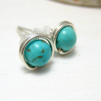 Genuine Turquoise Earrings Sterling Silver Wire Wrapped  Blue Green Turquoise Stud Earrings