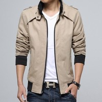 Autumn Men Cotton Rinsed Denim Korean Slim Jacket [8971054275]