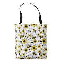 Honey Bumble Bee Bumblebee White Yellow Floral Tote Bag