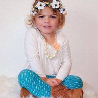 White and Gold Flower Crown - Wild Flower Halo, Flower Crown, Bridal Flower Crown, Baby Photo Prop, Boho Flower, Baby Flower Crown