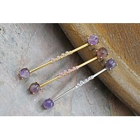 Amethyst Industrial Barbell, Silver, Gold or Rose Gold