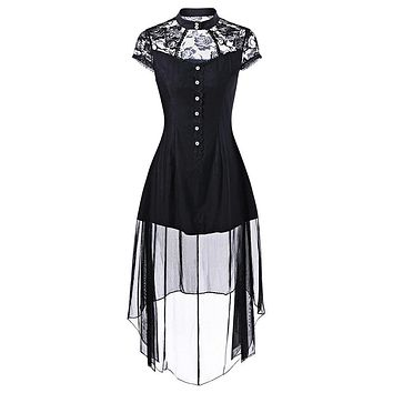 stand neck short sleeve Gothic dresses Vintage women lace dress mesh streetwearfemale 2018 Summer Gothic dress vestido