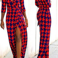 Red and Blue V-Neck Houndstooth High Slit Dress