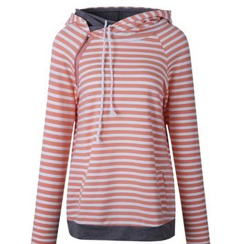 Orange Stripes Stitching Hoodies
