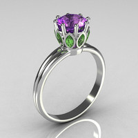 Classic 14K White Gold Marquise Green Sapphire 1.0 CT Round Lilac Amethyst Cocktail Ring R90-14KWGGSLA