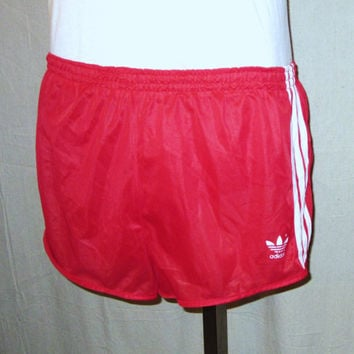 Vintage Rare 80s ADIDAS GLANZ SPRINTER Sports Red Shiny Lined Unisex Small Medium Athletic Running Polyester Gym Shorts