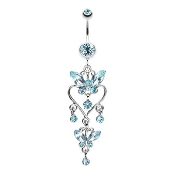 Blue Butterfly Extravagance Belly Button Ring Navel Ring Body Jewelry