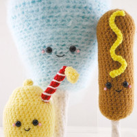 Amigurumi County Fair Crochet Pattern-Cotton Candy, Corn Dog and Lemonade!