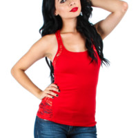Women Red Tank Top With Lace Back