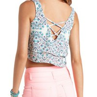 Printed Strappy Back Swing Crop Top by Charlotte Russe