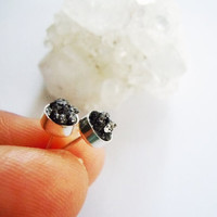 Raw Rough Diamond Stud Earrings - Black - Natural Gemstones - Raw Stone -Sterling Silver - Unisex