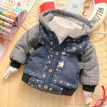 Free shipping Autumn and winter baby boys girls plaid with hood coat cardigan quilted jacket for kids tops 0-2 years old