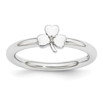 Rhodium Sterling Silver .005 Ctw  Diamond 6mm Clover Stackable Ring