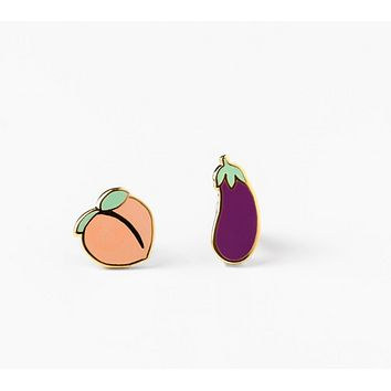 Peach and Eggplant Mismatched Stud Earrings