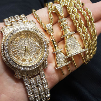 Luxury Iced Out Diamond Watch & Power Plug 2 Necklace Set