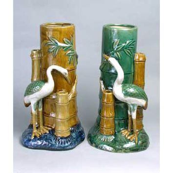 A. A. Importing 37854 Majolica-Styled Crane Vases, Set of Two