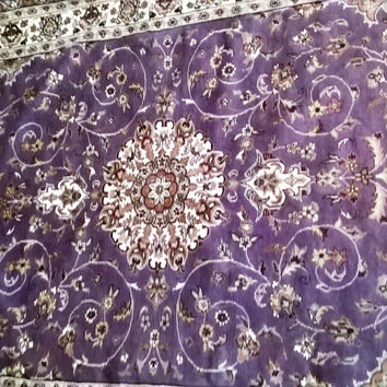 5x8 Pakistan Carpet Rug Persian Silk Wool Blend Hand Knotted Purple Violet Pink