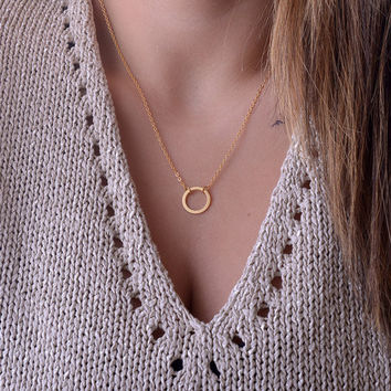N083 Stainless steel Jewelry Pendant necklaces Fashion Clavicle Chains choker Karma Circle Statement Rose Gold Necklace Collier
