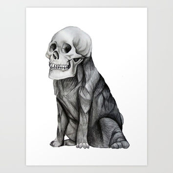 skullpug // A brutal pug wearing a human skull made in pencil Art Print by Camila Quintana S