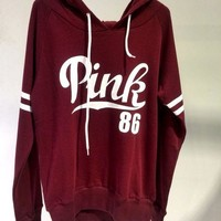 """Victoria's Secret "" Fashion Casual Fashion Letter Print Hooded Long-sleeves Pullover Tops Sweater Hoodie"