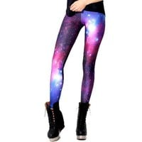 Galaxy Stars Universe Space Nebula Sky Digital Print Legging Pants for Women in Pink and Purple