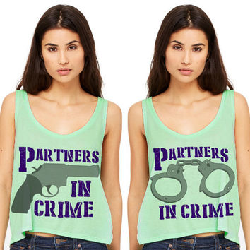 Mint Green Cropped Tank Top - Partners In Crime - Best Friend Summer Outfit Beach Tank Bestie Duo