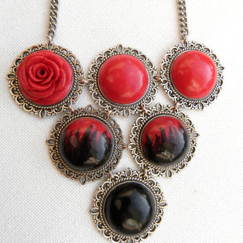 Black red – Bib necklace – Red rose - Handmade necklace