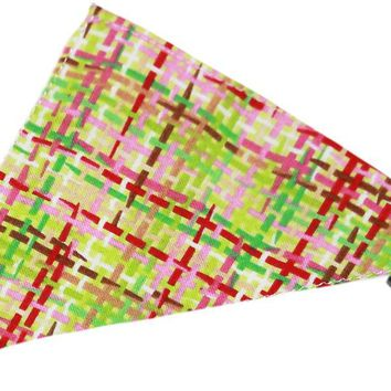 Lime and Pink Party Plaid Bandana Pet Collar Black Size 20