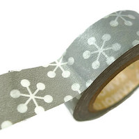 Grey and White Star/Snowflake Washi Tape