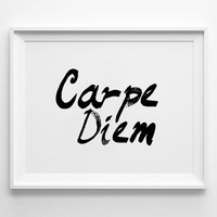 Life poster print, Typography Poster, Home wall decor, Mottos, Handwritten, Brush, Giclee art, carpe diem, inspiration, quote, words