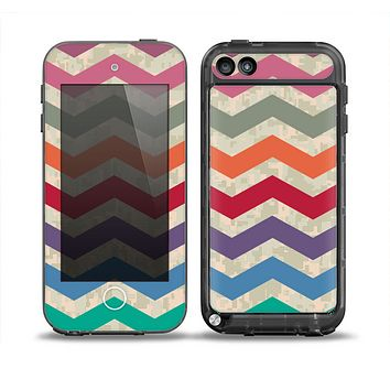 The Rainbow Chevron Over Digital Camouflage Skin for the iPod Touch 5th Generation frē LifeProof Case