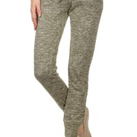 Heather Drawstring Joggers with Colored Waistband