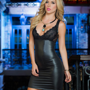 Sexy Wet Look Black Mini Dress- Clubbing Dresses