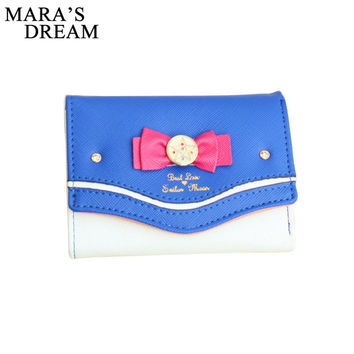 Mara's Dream 2017 Sailor Moon Wallet Women Lady Short Wallets Female Candy Color Bow PU Leather for Card Purse Clutch Bag New