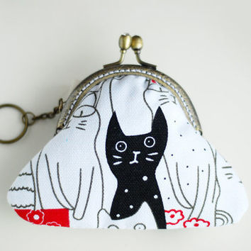 Cat coin purse Metal Frame by lazydoll on Etsy