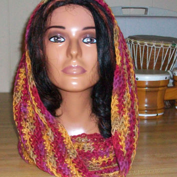 Multicolored Handmade Crochet Cowl with Caron's Simply Soft Acrylic Yarn; Simple Pattern in Fall Colors