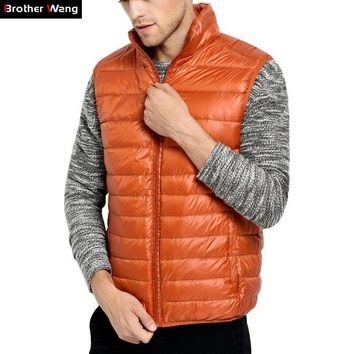 Brother Wang Brand 2017 Winter New Men Light Down Coat Men Casual White Duck Vest Jacket Male Warm Coat