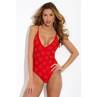Bridget V Cut One Piece Swimsuit - Audrey Red