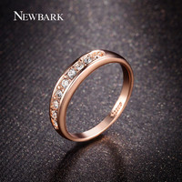 NEWBARK White Gold Plated Half Eternity Band Milgrain Pave 9pcs Rhinestones Wedding Ring Women Fashion Jewelry