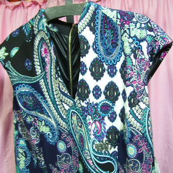 Summer Dress, Teal Black, Paisley Print, Sexy Midi Scuba Stretch, V Neck, Cap Sleeves, Plus Size XXL (2X) Wedding, Resort Cruise Wear