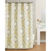 Walmart: Hometrends Global Floral Fabric Shower Curtain, Yellow