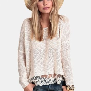 Boardwalk Dreaming Lace Accent Sweater