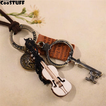 2017 woman jewelry statement necklaces & pendants, Key violin pendant vintage Long necklace women christmas gift collares mujer