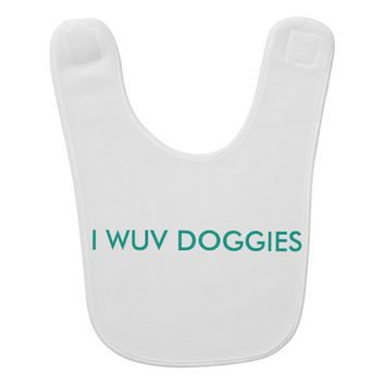 "Baby bib ""I wuv Doggies"""